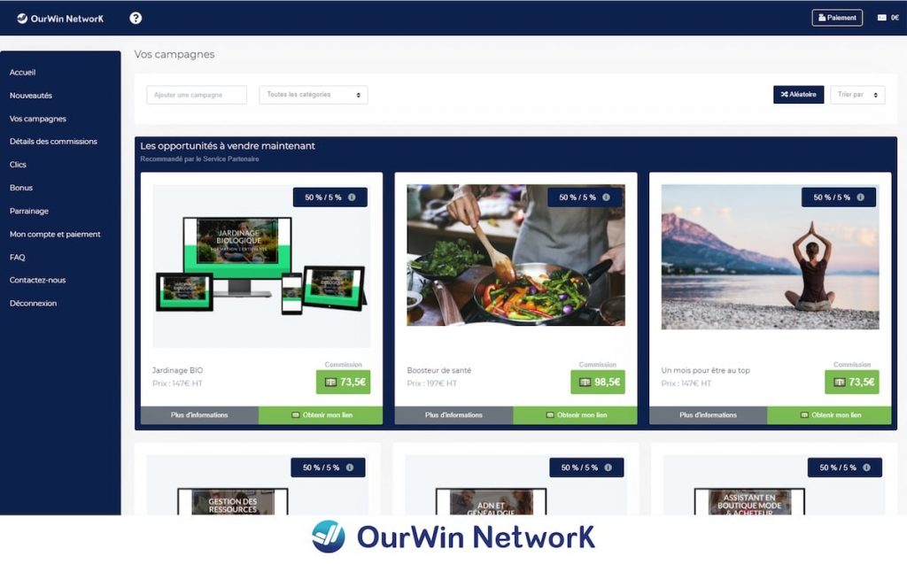 OurWin Network plateforme d'affiliation
