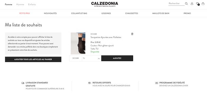 wishlist Calzedonia