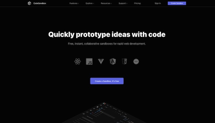 outil de partage de code CodeSandbox