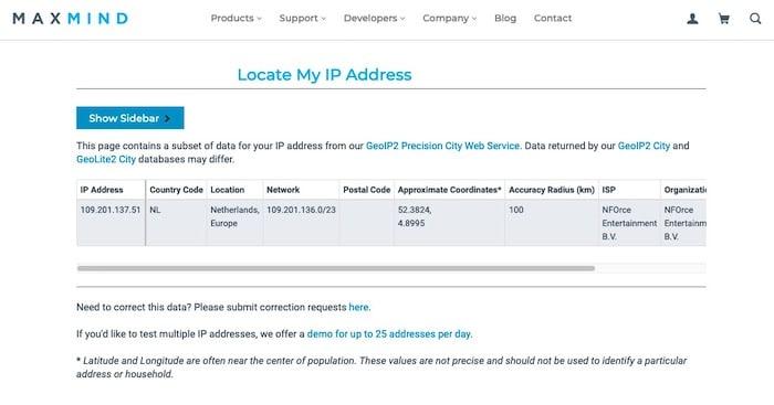 Maxmind site géolocalisation adresse IP