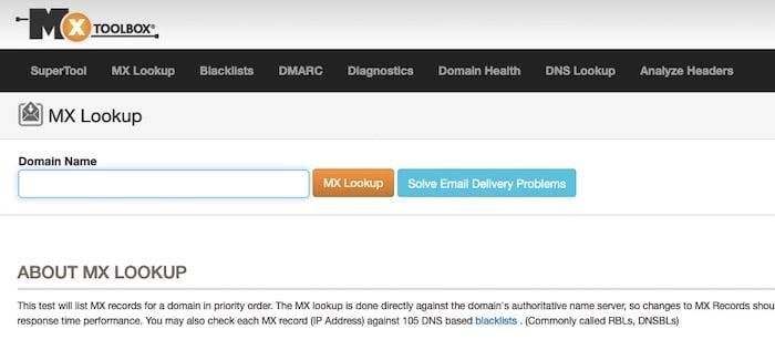 MX Toolbox outil test délivrabilité emails