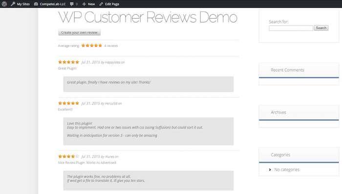 WP Customer Review plugin de collecte d'avis clients