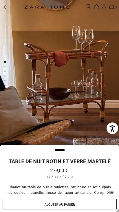 design page produit mobile