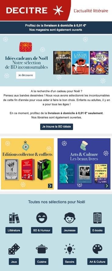 emailing Noël Decitre