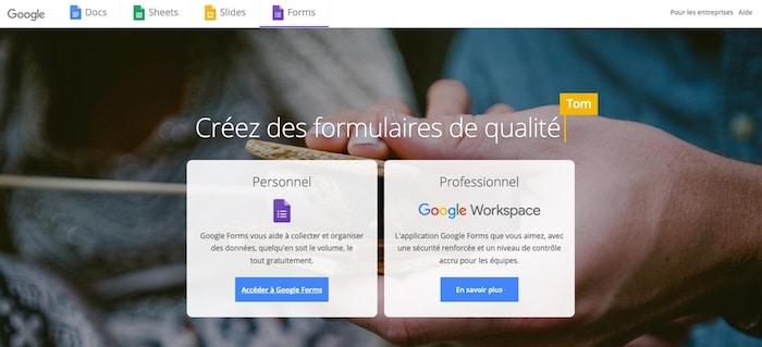 Google Forms outil de création de formulaire