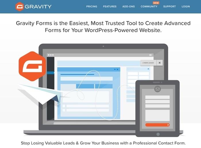 GravityForms plugin WordPress de création de formulaire
