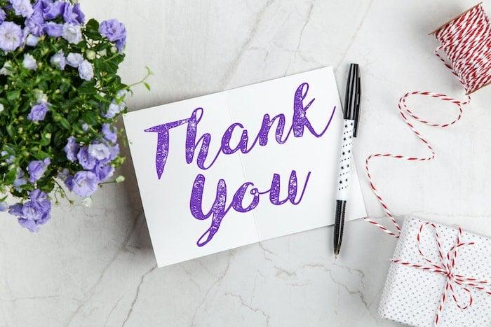 note de remerciement