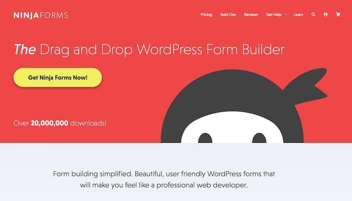 Ninja Forms plugin WordPress de création de formulaire