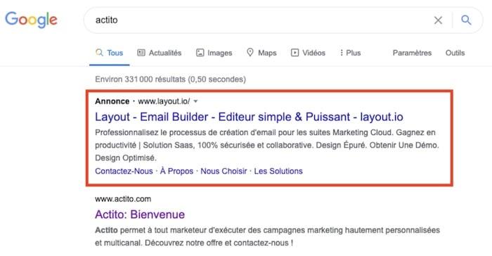 concurrent postitionné sur votre marque Google Ads