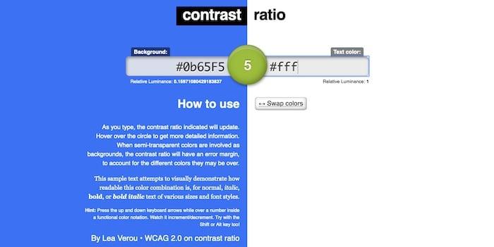 Contrast Ratio outil accessibilité web contraste des couleurs