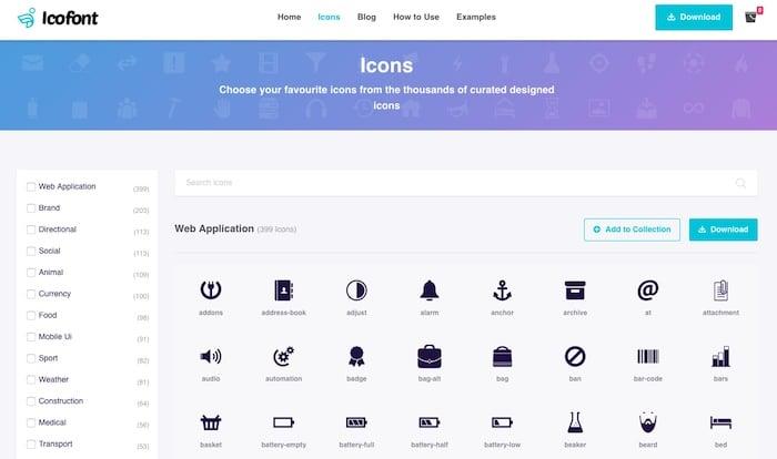 Icofont web font icon
