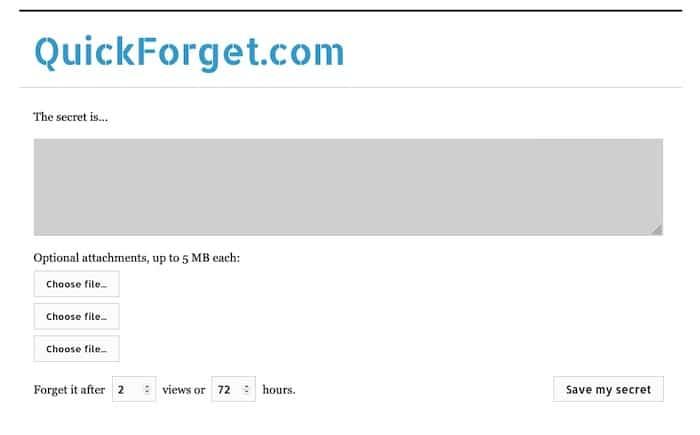 QuickForget logiciel pour envoyer des mots de passe sécurisés