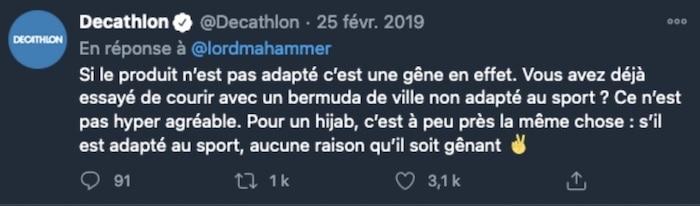 tweet hijab running Décathlon