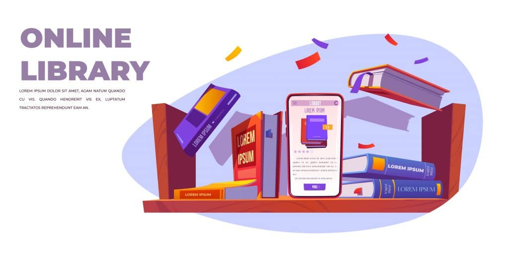 Online library service, smartphone stand on shelf with books, mobile phone with application for reading and studying, digital internet technologies in education, app for learning Cartoon vector banner