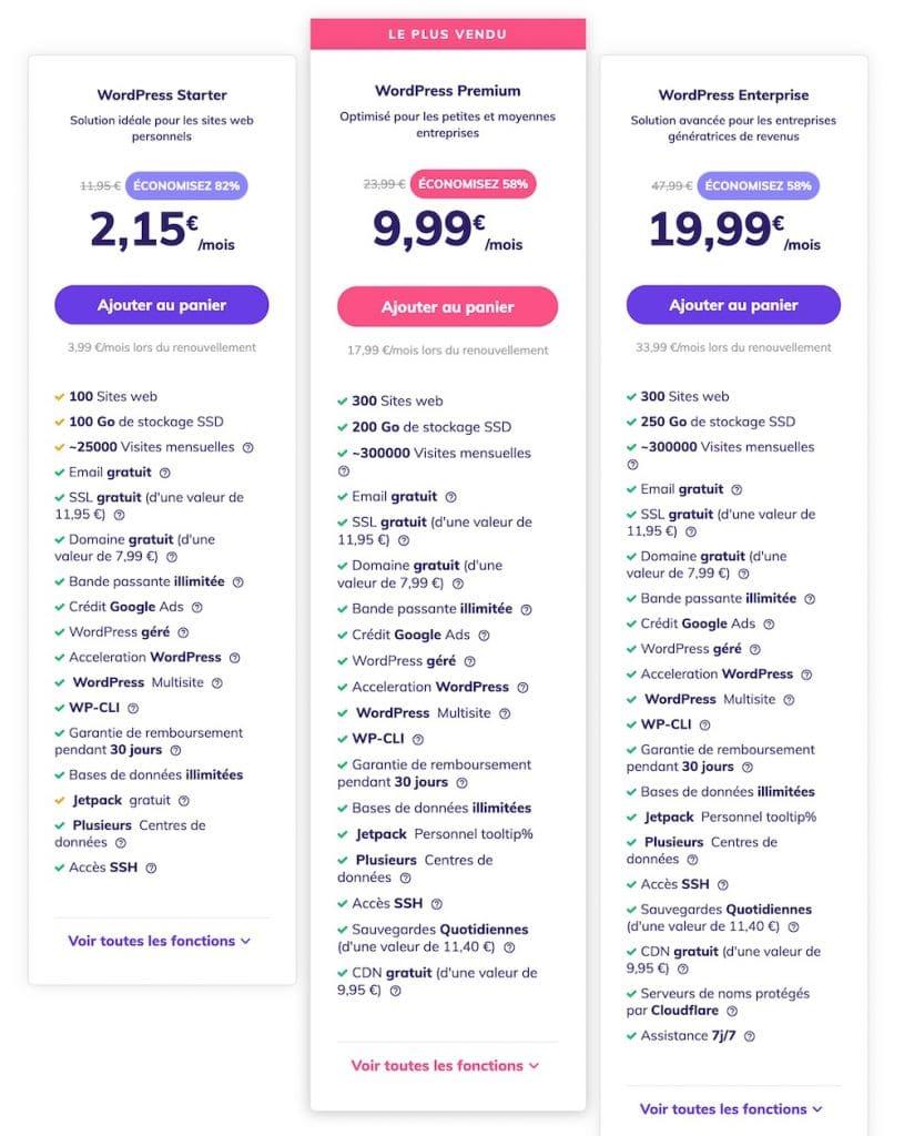 plans WordPress Hostinger