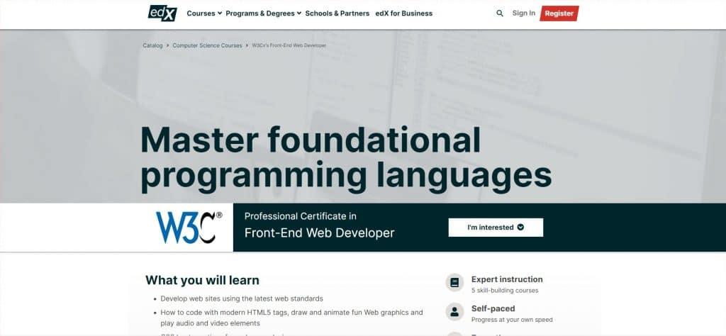 W3Cx's Front-End Web Developer Professional Certificate par EdX