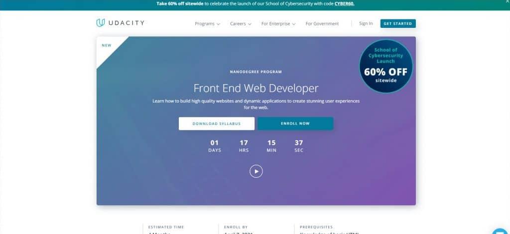 Frontend web development nanodegree par Udacity