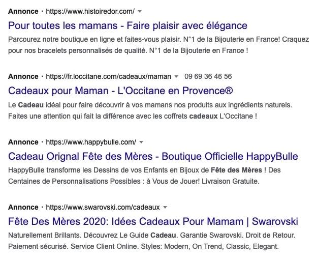 annonces Google Ads fête des mères