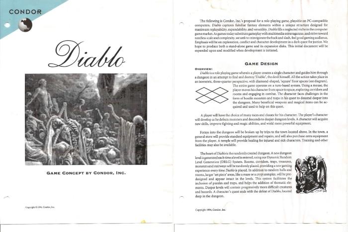 le Game Design Document du premier jeu PC Diablo
