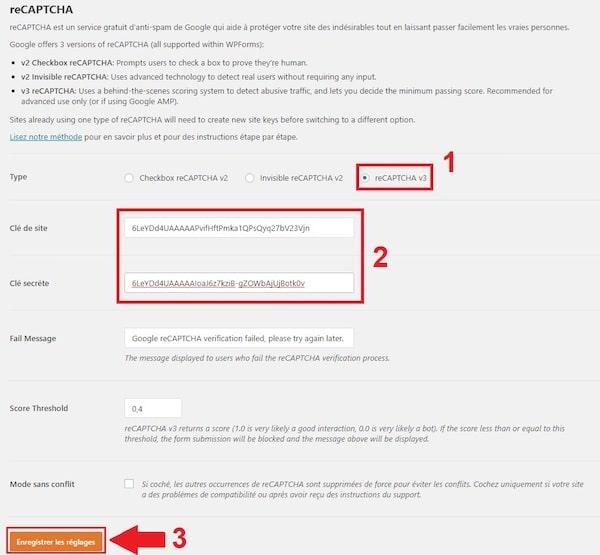 Intégrer un reCAPTCHA dans WP Forms