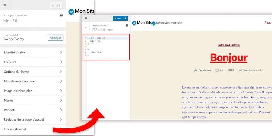 Ajout de CSS supplémentaire sur WordPress