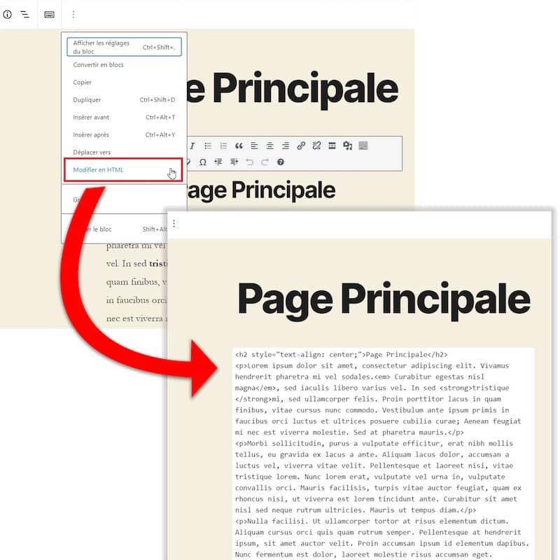 Édition WordPress HTML Gutenberg
