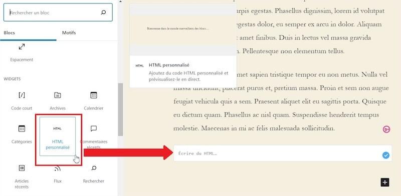 HTML personnalisé Gutenberg WordPress